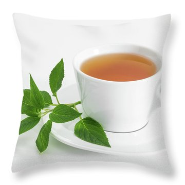 Cup Of Tea With Fresh Mint Throw Pillow