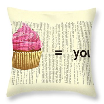 Pink Cupcake Equals You Print On Dictionary Paper Throw Pillow