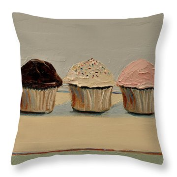 Cupcake Throw Pillow by Lindsay Frost