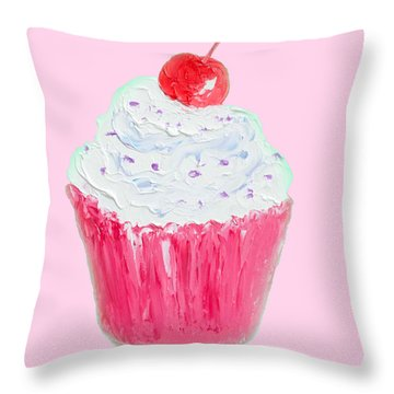 Cupcake Painting On Pink Background Throw Pillow by Jan Matson