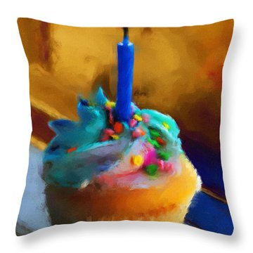 Cupcake With Candle Throw Pillow