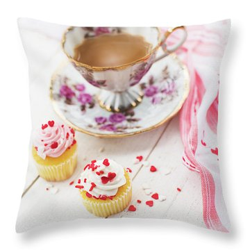 Cupcakes And Coffee Throw Pillow