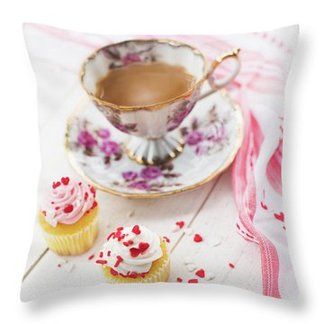 Throw Pillow featuring the photograph Cupcakes And Coffee by Rebecca Cozart
