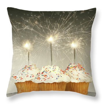 Cupcakes With Sparklers Throw Pillow