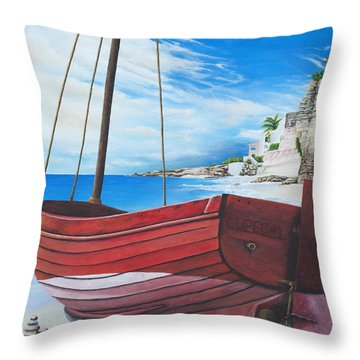 Cupecoy Beach Throw Pillow