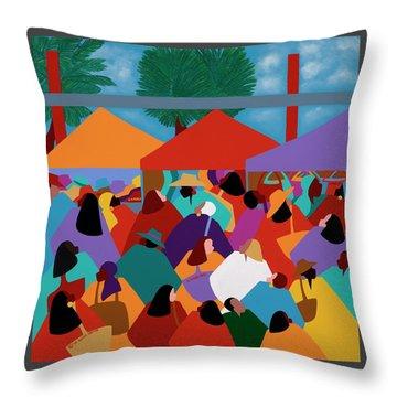 Curacao Market Throw Pillow