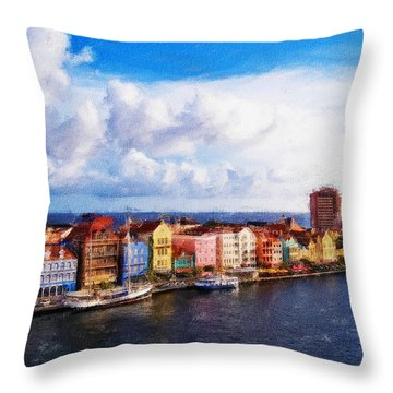 Curacao Oil Throw Pillow by Dean Wittle
