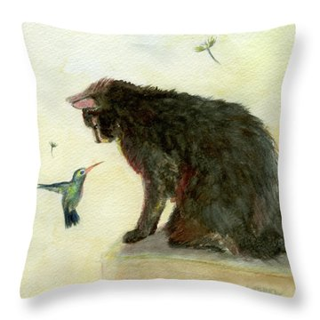 Throw Pillow featuring the painting Curiosity by Andrew Gillette