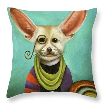 Throw Pillow featuring the painting Curious As A Fox by Leah Saulnier The Painting Maniac