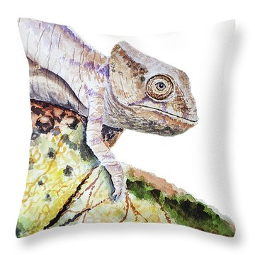 Throw Pillow featuring the painting Curious Baby Chameleon by Irina Sztukowski