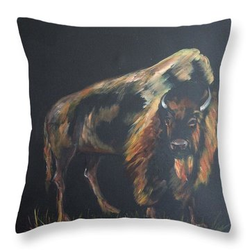 Curious Bison Throw Pillow by Ellen Canfield