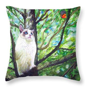 Curious Cat Throw Pillow