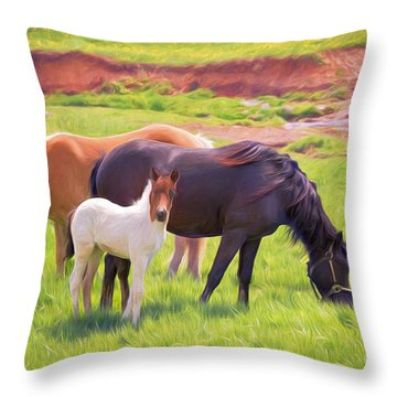 Curious Colt And Mares Throw Pillow