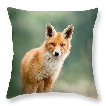 Curious Fox Throw Pillow by Roeselien Raimond