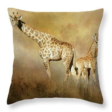 Curious Giraffes Throw Pillow