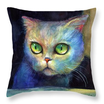 Curious Kitten Watercolor Painting  Throw Pillow by Svetlana Novikova