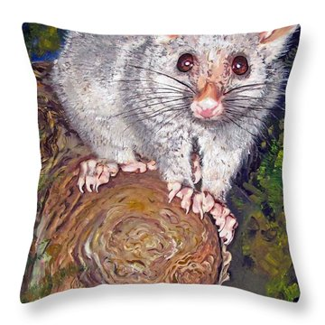 Curious Possum  Throw Pillow