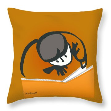 Curious Reader Throw Pillow by Asok Mukhopadhyay