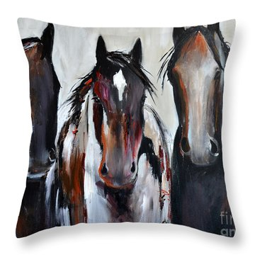 Curious Three Throw Pillow by Cher Devereaux