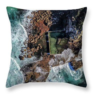 Throw Pillow featuring the photograph Curl Curl Pool by Chris Cousins