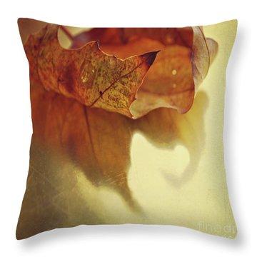 Curled Autumn Leaf Throw Pillow