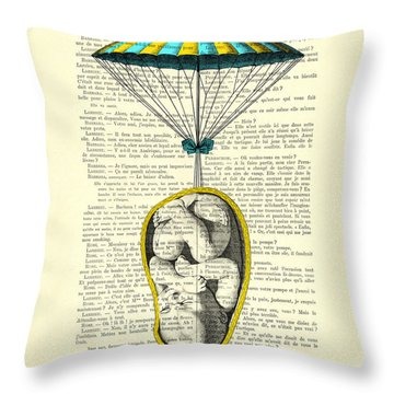 Curled Up Baby With Parachute Throw Pillow