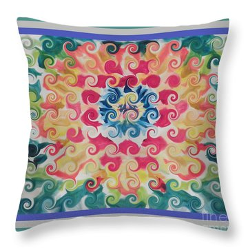 Curly Floral Bloom Throw Pillow