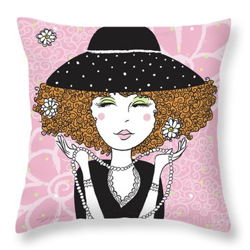 Curly Girl In Polka Dots Throw Pillow