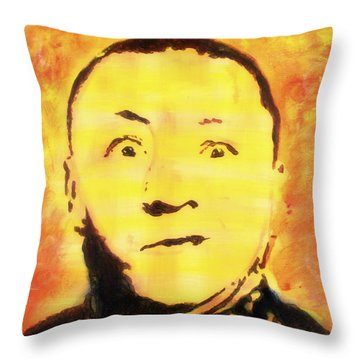 Curly Howard Three Stooges Pop Art Throw Pillow by Bob Baker