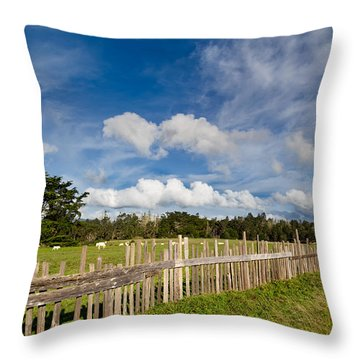 Curly Lane Cattle Fence Throw Pillow