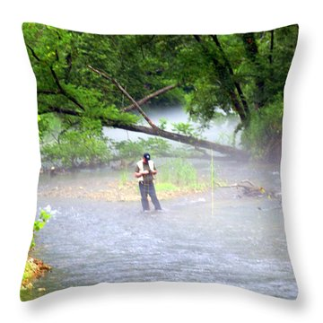 Current River 6 Throw Pillow by Marty Koch