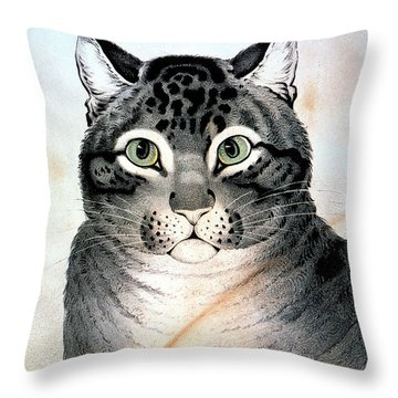Currier And Ives Cat Throw Pillow by Granger