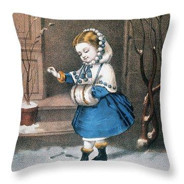 Currier & Ives: Little Snowbird Throw Pillow