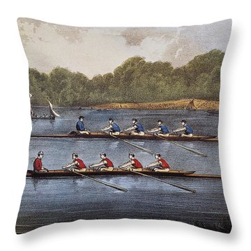 Currier & Ives: Rowing Contest Throw Pillow