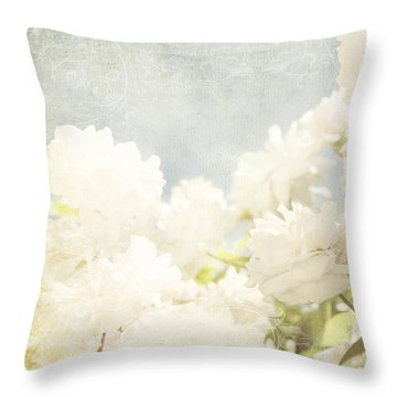 Curtains And Fountains Of Roses Throw Pillow