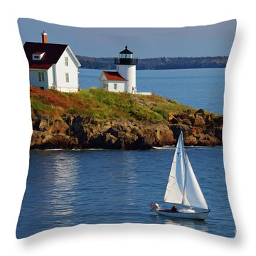 Curtis Island Lighthouse - D002652b Throw Pillow