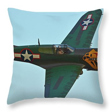 Throw Pillow featuring the photograph Curtiss P-40k Warhawk N401wh Chino California April 29 2016 by Brian Lockett