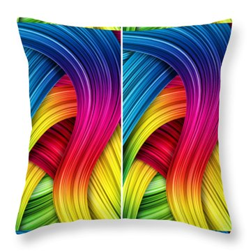 Curved Abstract Throw Pillow by Sheila Mcdonald