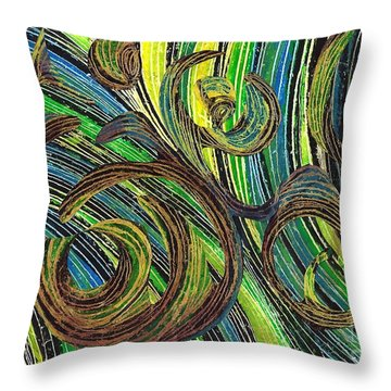 Curved Lines 4 Throw Pillow by Sarah Loft