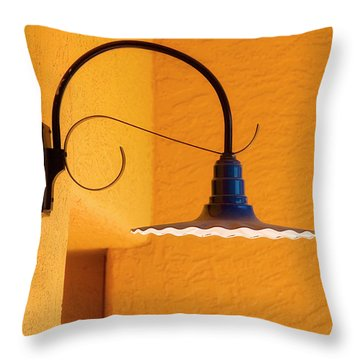 Curved Outdoor Light Bright Yellow Wall Throw Pillow