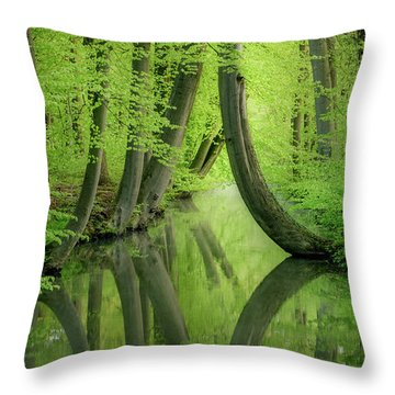 Curved Trees Throw Pillow
