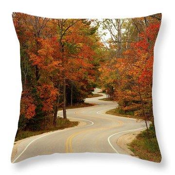 Curvy Fall Throw Pillow by Adam Romanowicz