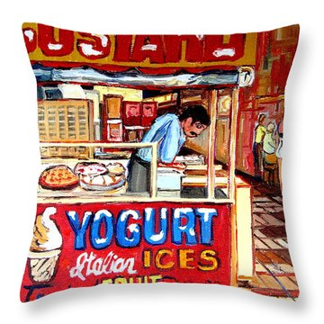 Custard Cart Throw Pillow by Carole Spandau