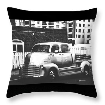 Throw Pillow featuring the photograph Custom Chevy Asbury Park Nj Black And White by Terry DeLuco
