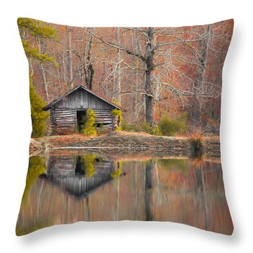 Custom Crop - Cabin By The Lake Throw Pillow by Shelby  Young