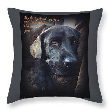 Custom Paw Print Midnight My Best Friend Throw Pillow