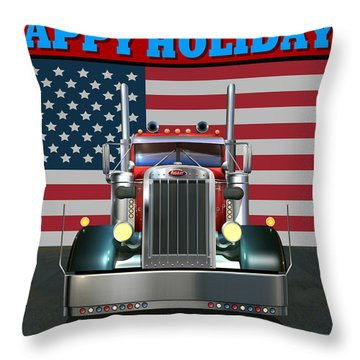 Throw Pillow featuring the digital art Custom Pete Happy Holidays by Stuart Swartz