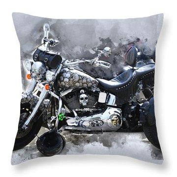 Customized Harley Davidson Throw Pillow