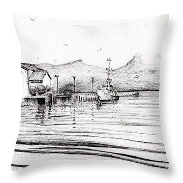 Customs Boat At Oban Throw Pillow
