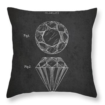 Cut Diamond Patent From 1873 - Charcoal Throw Pillow